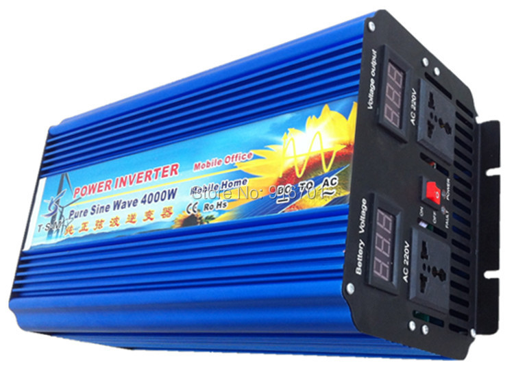 Pure Sine Wave Car Power Inverter 4000W DC 12V to AC 220V Car Converter 4000Watt Peak Power 8000W Solar Inverter