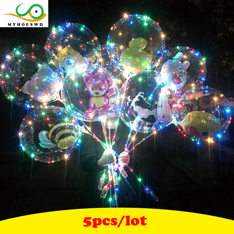 MYHOESWD 5pcs/lot Funny Toy Ball for Wedding Light Up Toys Flash Inflatable Bobo Balloon Led Toys for Kids Party Gifts Novelty