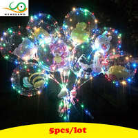 MYHOESWD 5pcs Lot Funny Toy Ball For Wedding Light Up Toys Flash Inflatable Bobo Balloon Led