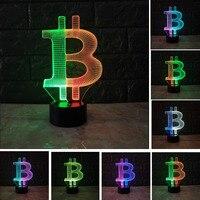 Amroe Mixe Color LED 3D Night Light Bitcoin 7 Color Change Bedroom Desk Lamp Illusion USB