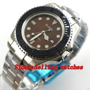 44mm Bliger coffee Dial Sapphire Crystal Bracelet clasp Date Window Automatic Movement Men's Mechanical Wristwatches