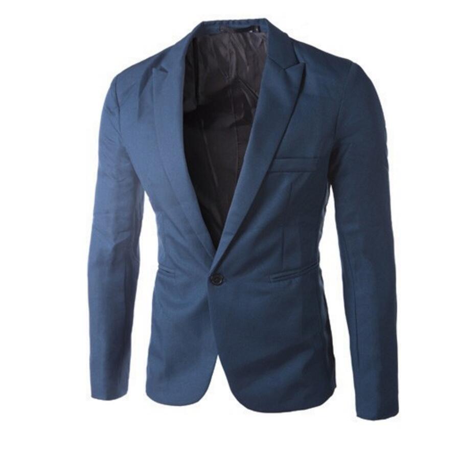 Nieuwe collectie Mannen Pak Blazer Mannen Effen Kleur Modieuze Toevallige Blazer Een Knop Blazer Suits jacket bruidsjonkers jasje - 3