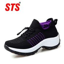 Spring Women Flat Platform Sneakers Casual Breathable Flying Weaving Slip-on Wedges Shoes Plus Size Ladies Non-slip Sneaker