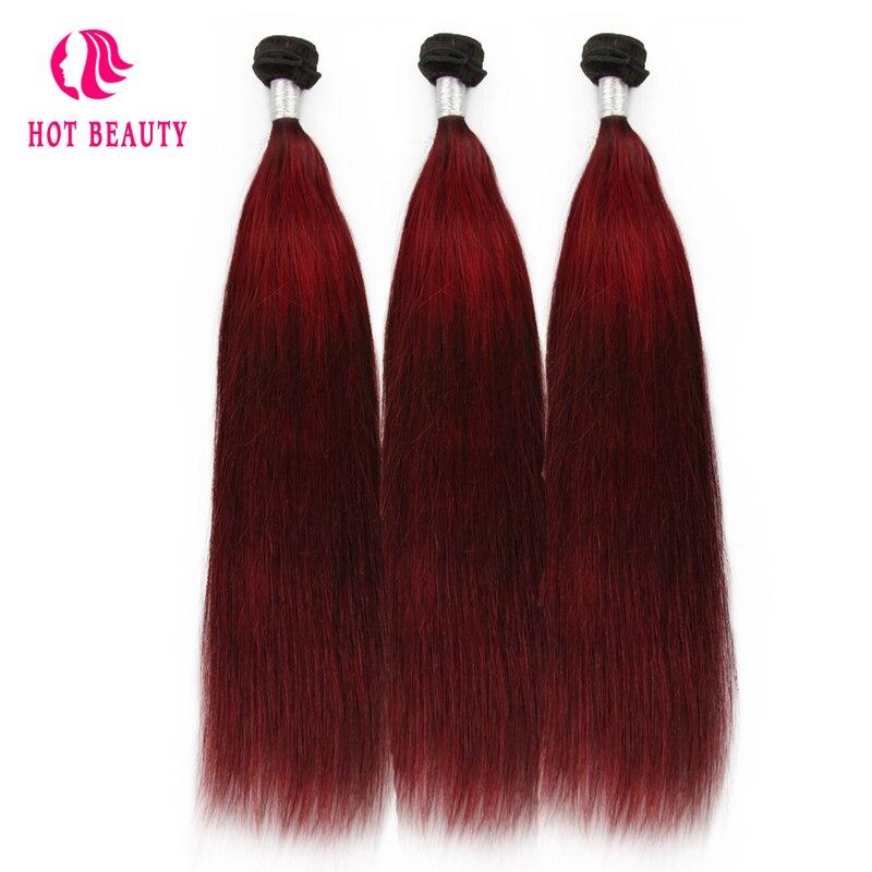 Hot Beauty Hair Wain Color Peruvian Straight Hair Bundles 10-26 inch - Rambut manusia (untuk hitam) - Foto 2