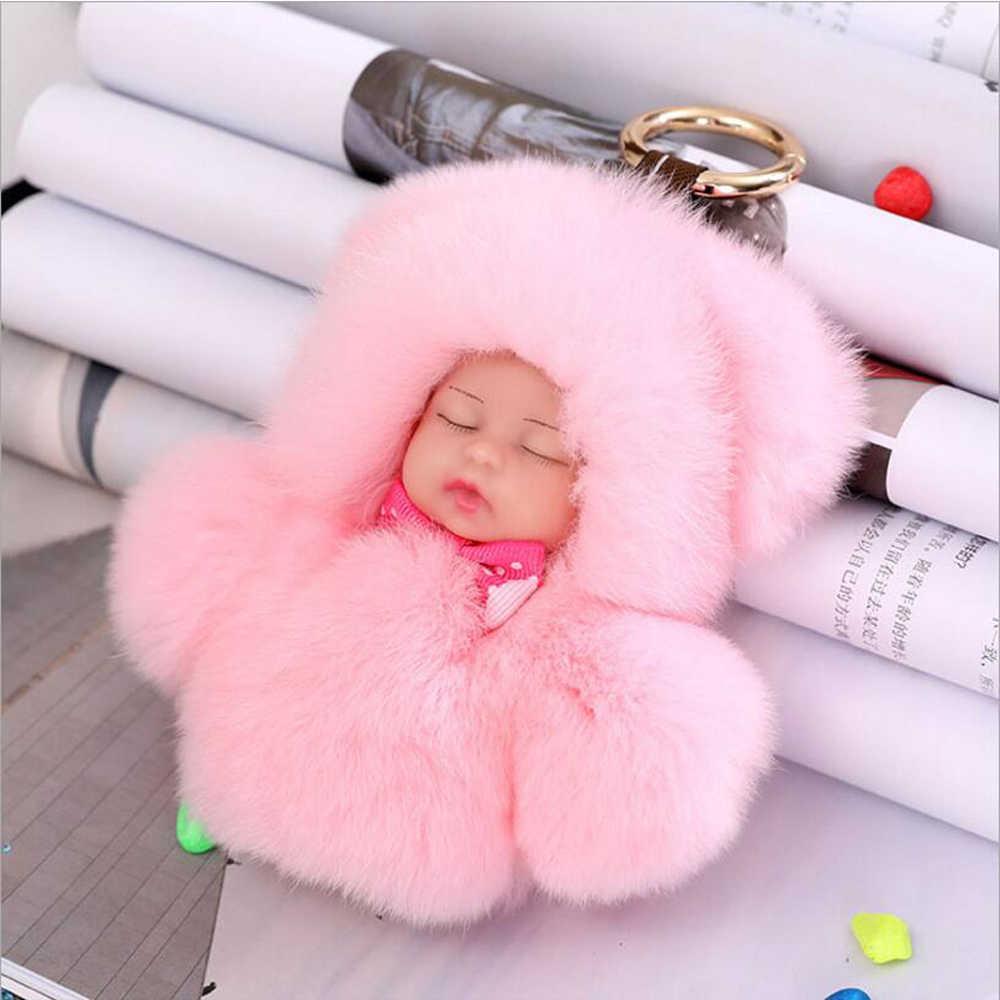 13 cm Bonito do Sono Do Bebê Boneca Chaveiro de Pele De Coelho Verdadeiro Chaveiro PomPom Fofo Mulheres Keyring bugiganga para o Saco Acessório pingente