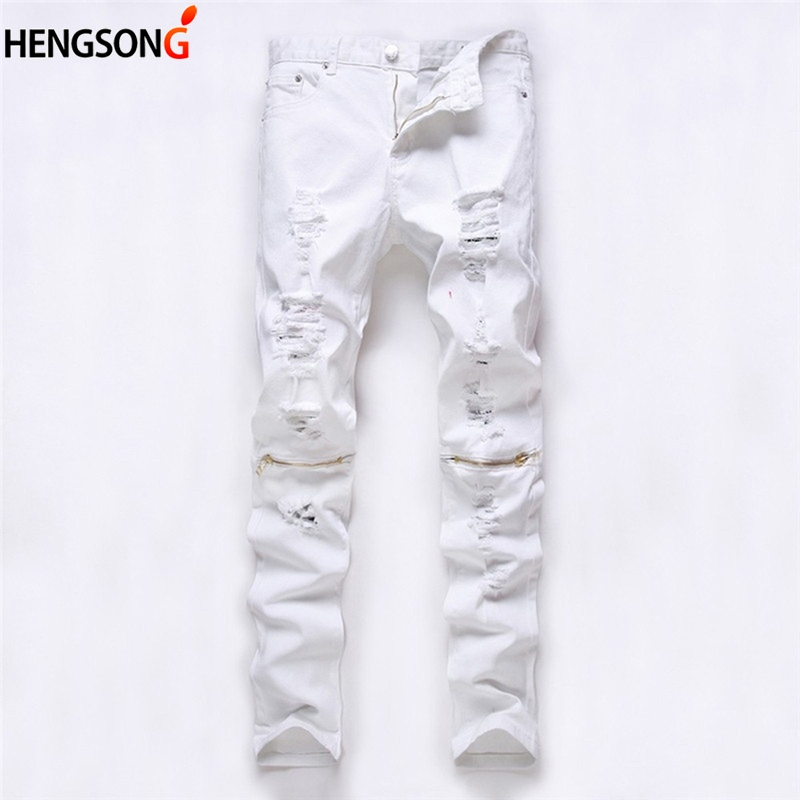 New Men Multi Zippers Broken Hole Ripped Pants Mens Joggers Skinny Pants Casual Trousers Pantalon Red White Black