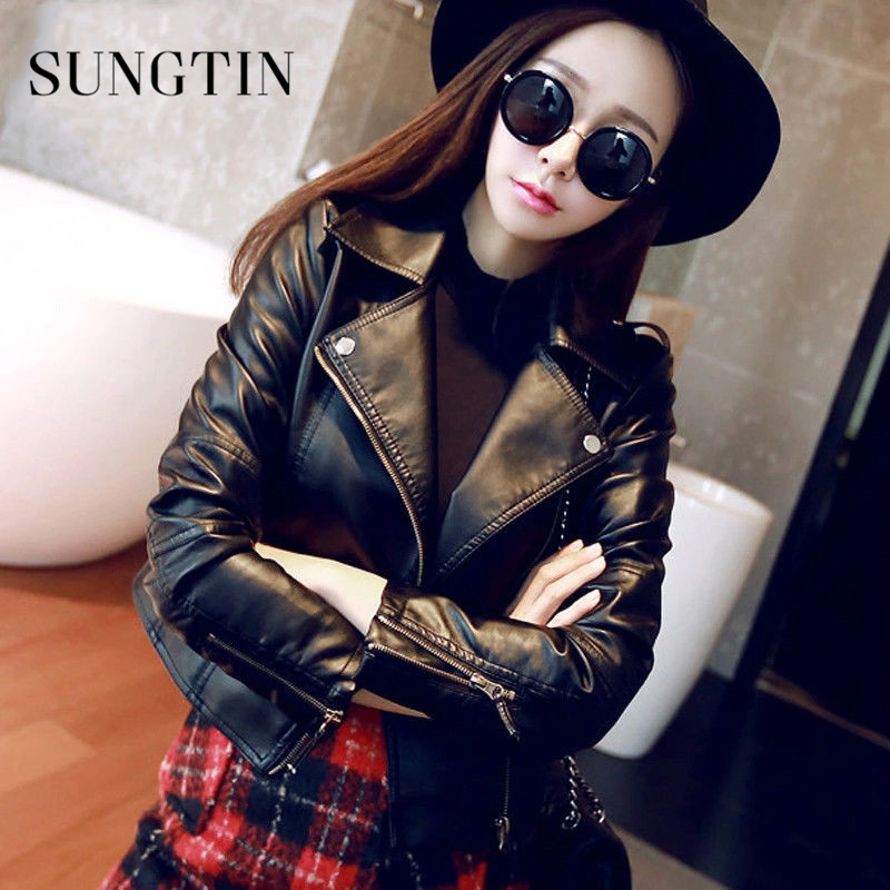 Jacket Women Short Basic-Coat Spring Faux-Leather Autumn Soft Zippers Outwear Sungtin title=