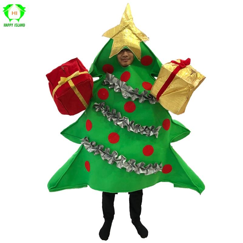Adulte Arbre De Noël Costume Avec Présent Couvre-chaussures Femmes De Noël Fancy Dress Up Cosplay Costumes En Peluche Costume De Mascotte