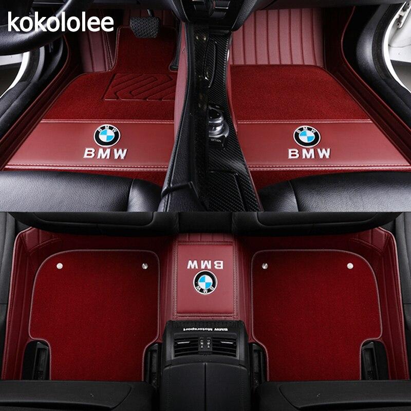 Kokololee Personalizzato tappetini auto Per BMW tutti i modelli X3 X1 X4 X5 X6 Z4 f30 f10 f11 f25 f15 f34 e46 e90 e60 e39 e83 e84 e70 e53 g30