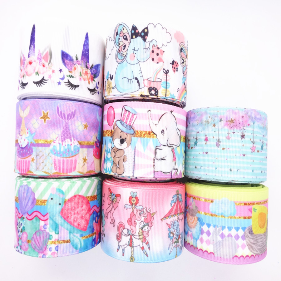 Grosgrain-Ribbon Hair-Bows Crafts DIY Birthday-Decoration Animal/cake-Printed 5-Yards