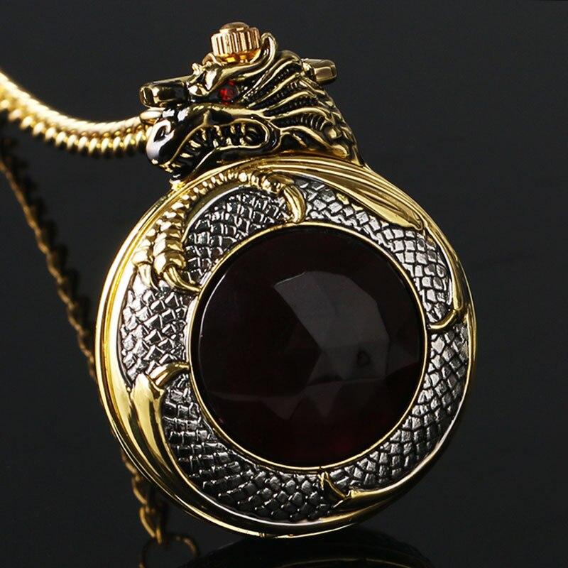 Luxury Golden & Silver Chinese Dragon Design Pocket Watch With Dark Red Zircon Short Golden Chain Gift To Men Women