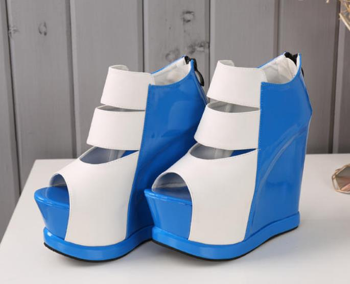 Spring 15cm ultra-high heel sandals female summer waterproof platform thick bottom pine cake shoe slope and fish mouth Roman shoSpring 15cm ultra-high heel sandals female summer waterproof platform thick bottom pine cake shoe slope and fish mouth Roman sho