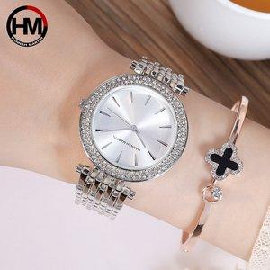 Image 5 - Women Top Brand Luxury Quartz Movement Watches Fashion Business Stainless Steel Diamond Dial Waterproof Ladies Wristwatches