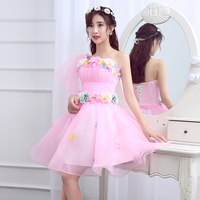 Pink 2019 Short Cocktail Dresses Beach Summer Modest Prom Gown Lovely 3D Flowers Floral Homecoming Dress Abiye Vestidos