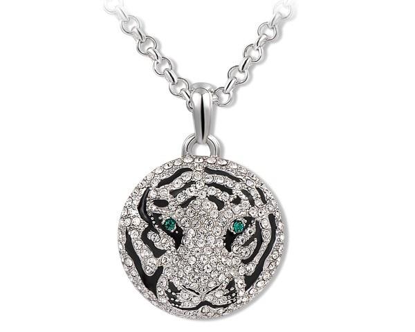 Ninabox brave beauty tiger face black enamel pendant with ninabox brave beauty tiger face black enamel pendant with austrian crystal white gold mozeypictures Gallery