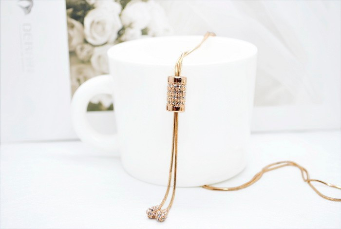 Rose gold crystal tassel long simple necklace womens jewellery 16 new korean luxury elegant collier sautoir long/colar longo 7