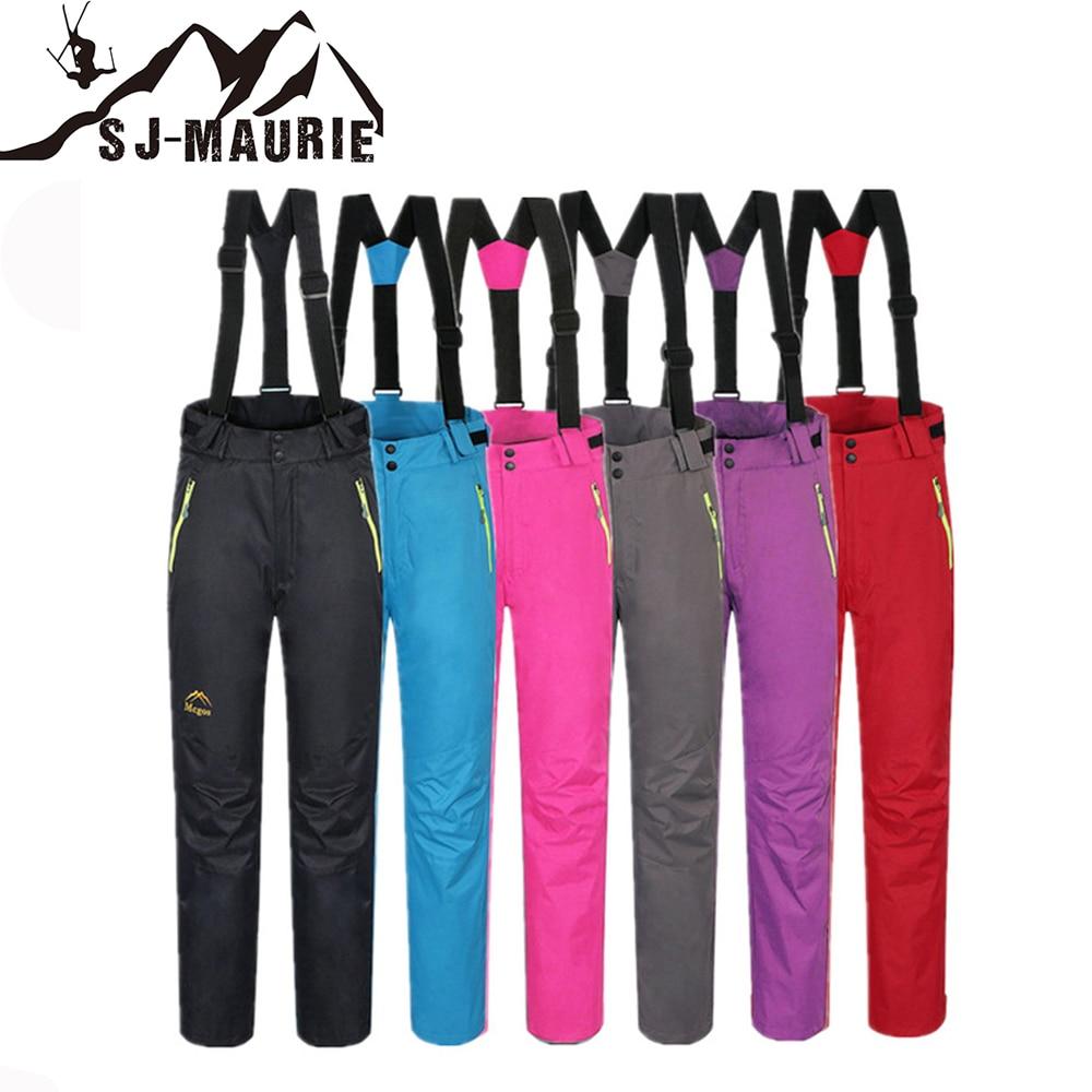 Sj-maurie pantalons de ski de neige sport femme pantalon de Snowboard bretelles détachables vêtements en molleton pantalon de Snowboard solide