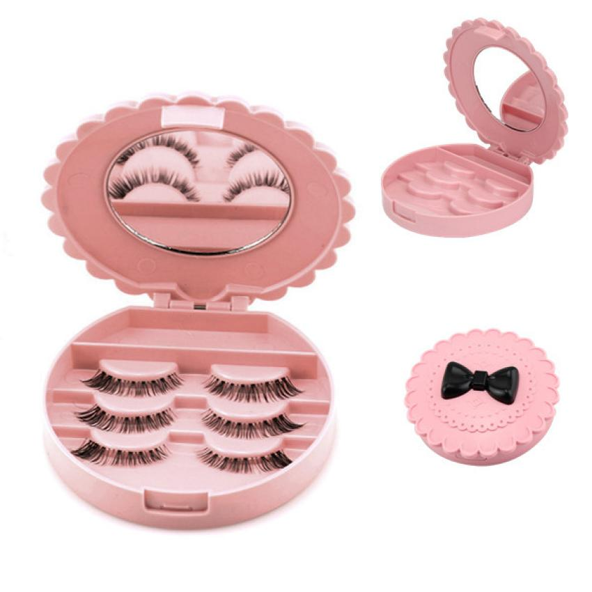 Storage Box Case Makeup Cosmetic Mirro Organizer Box Plastic Acrylic Cute Bow False Eyelash Storage Containers 18JAN15