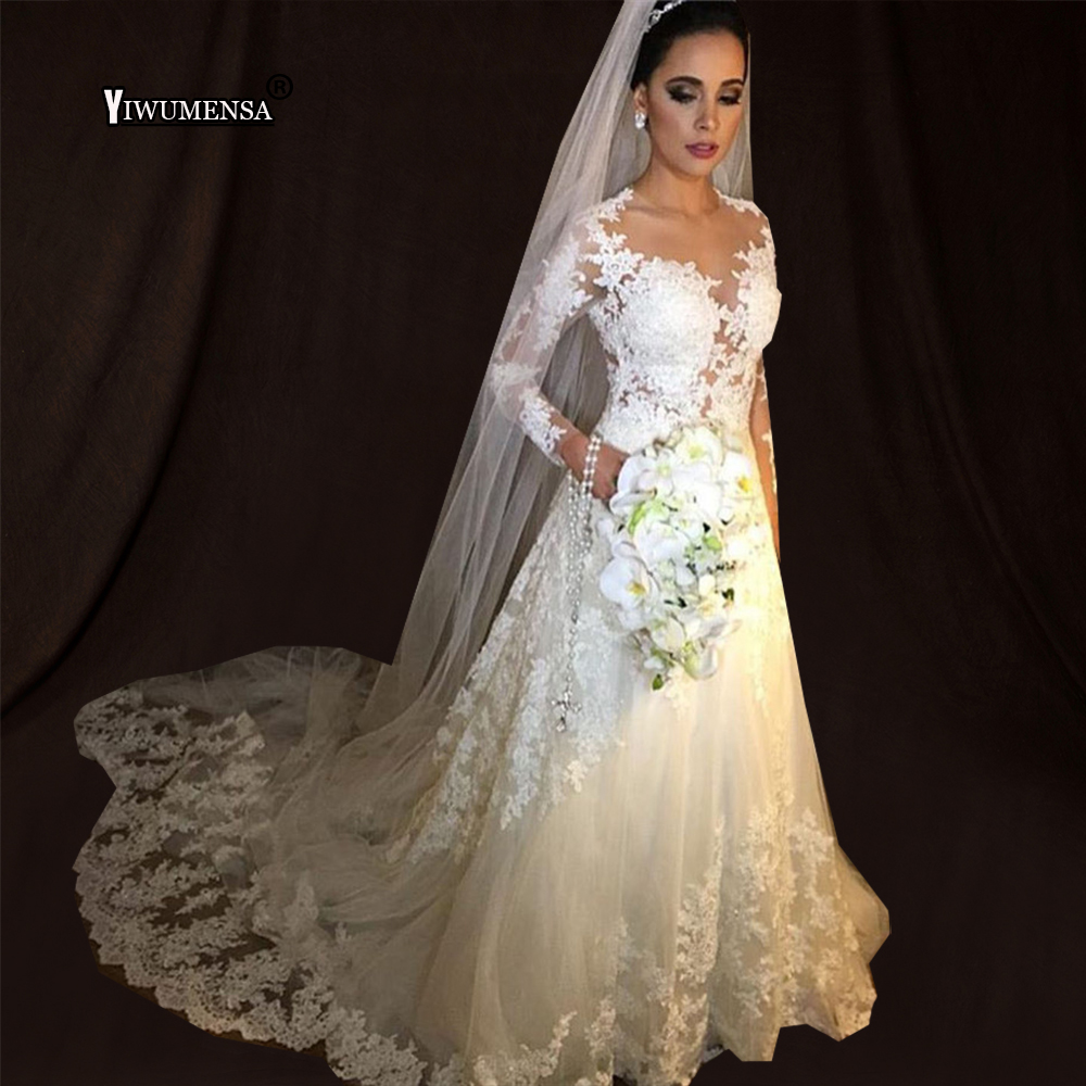 Robe De Mariee Vintage White A line Wedding Dresses Long Sleeve ...