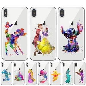 Водонепроницаемый чехол для телефона с рисунком из мультфильма Tinkerbell Stitch Русалка Белоснежка для iPhone 11 Pro XS Max X XR 8 7 6 6S Plus 5S