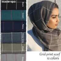 Women Plaid scarf cotton viscose grid shawl cosy fashion classic scarves and shawls elegant TR cotton muslim hijab scarfs