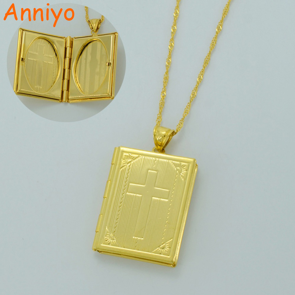 Anniyo Holy Bible Cross Necklaces for Women/Men Gold Color Crucifix Jewelry Crosses(Photo Locket)Christian Gifts #015902