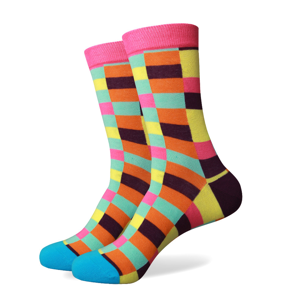 free shipping combed cotton brand men sockscolorful dress