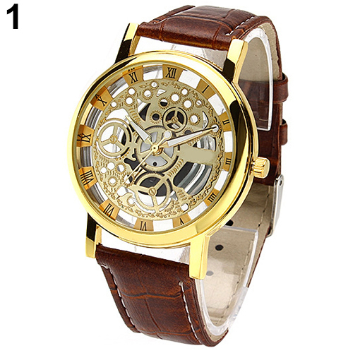 2015 Trended Men's Women's Roman Numerals Faux Leather Band Skeleton Analog Spor