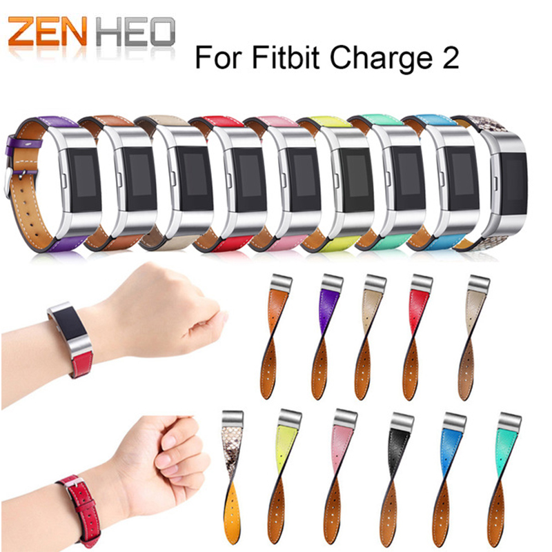 ZENHEO Watchbands Genuine Leather WatchBand For Fitbit Charge 2 Watch band Replacement Luxury Band Strap Bracelet Soft Calf New цена