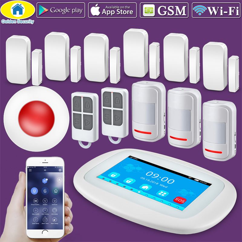 "2019 4.3"" Touch LCD Screen WIFI GSM Alarm System Security Alarm APP Control PIR Sensor Door Sensor Indoor Flash Siren