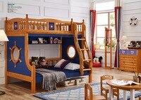 DS 603 все твердой древесины с забор безопасности американский стиль детская мебель для спальни двухъярусная кровать многофункцион