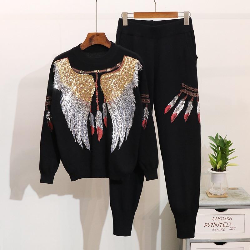 Ailes Paillettes Longues 2018 Hiver Chandail Automne Pantalon Ensembles Nouveau Ultra Femmes Casual À Tricoter Tricoté Costumes Black Femelle wCYqU0CB