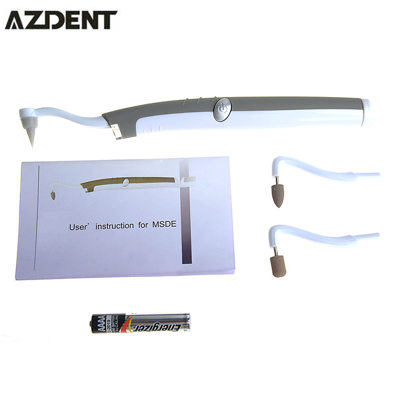 2017 AZDENT Sonic Dentist Tools Tooth Blanquear Led Light Teeth Whitening Kit With Battery Dental Pick Stain Eraser Tooth Gel  new personal care led oral teeth clean tool kits dental hygeine explorer dental mirror plaque remove tooth stain eraser