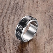 Roman Numerals Stainless Steel Rotatable Ring