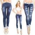 Llegó El nuevo 2017 Jeans de Moda Mujer Pantalones Lápiz Cintura baja Jeans Delgado Atractivo Ripped Pantalones Flacos Elásticos Pantalones Señora Apta Jean