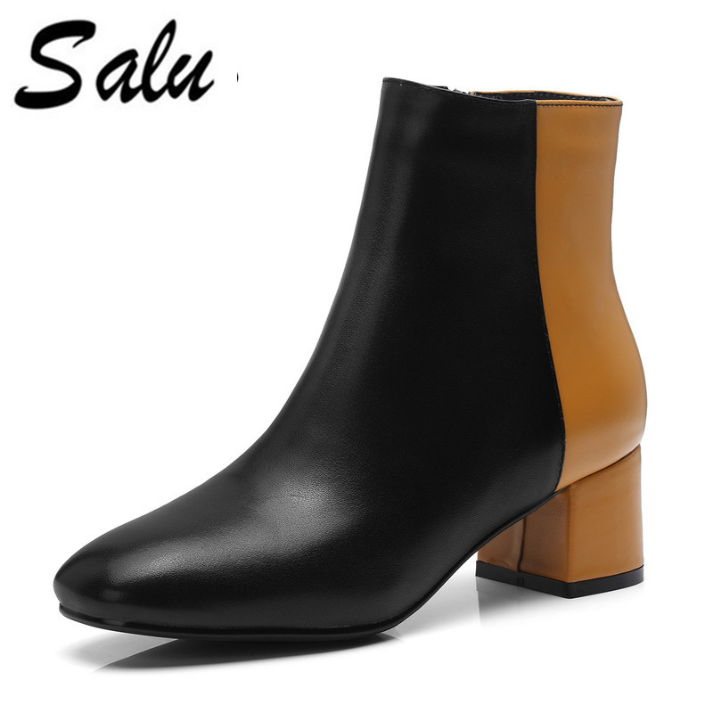 Salu women's winter boots genuine leather Chelsea women boots real wool fur inside snow shoes thick heels warm