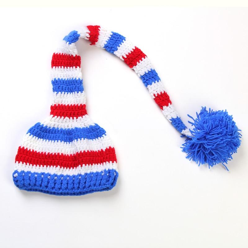 Nyfødt julegave Fullmåne Ullhue Håndarbeid Strikket Langhale Cap - Baby klær - Bilde 3