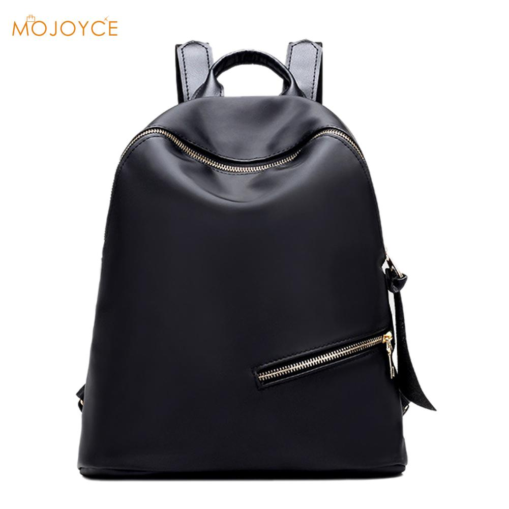 Waterproof Nylon Women Backpack Large Black Shoulder Back Bag Preppy Style Zipper Backpacks for Teenage Girls