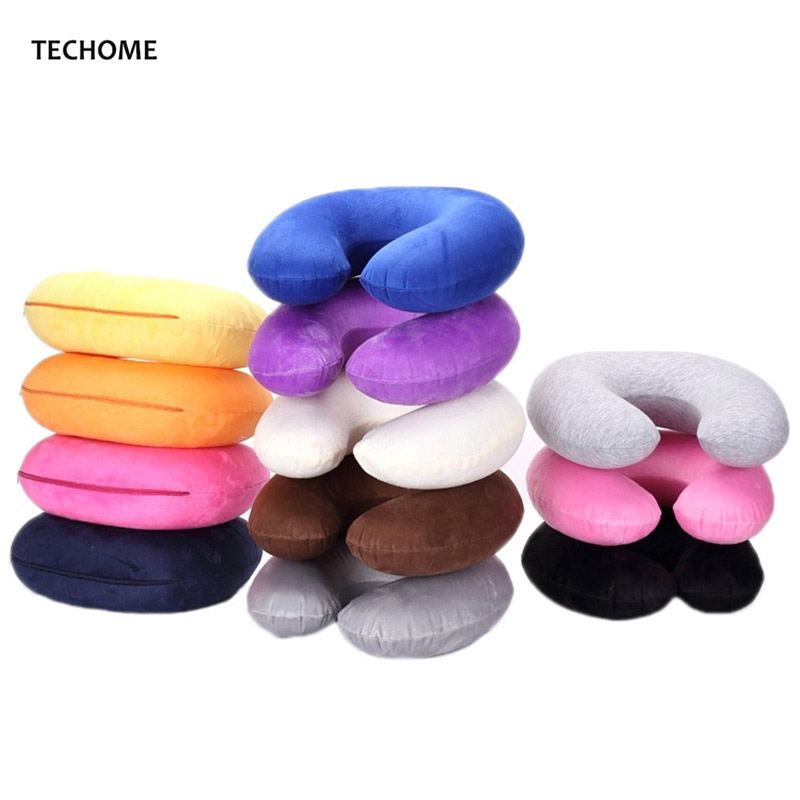 Adult Children PVC Inflatable Pillow Soft Cloth Sets Neck pillow U Type Pillow Outdoor Travel Leisure Pillow Multi-colors u miss functional inflatable neck pillow inflatable u shaped travel pillow car head neck rest air cushion for travel neck pillow