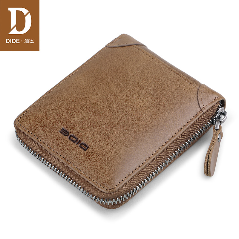 DIDE Men Wallets Coin Purse Pockets Genuine-Leather Luxury Brand for Male Original Mini
