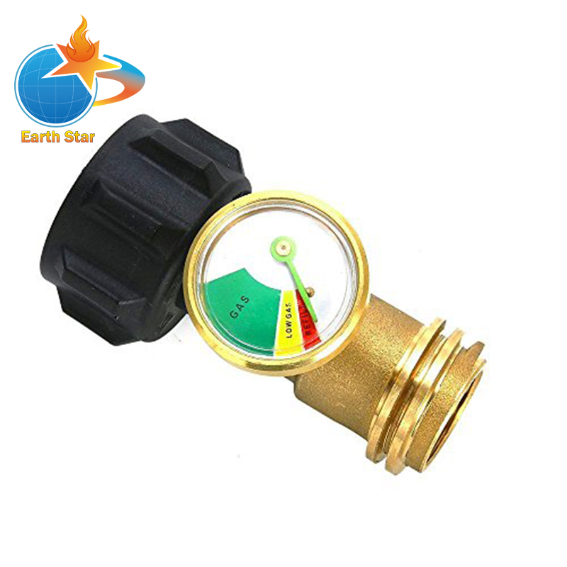 Universal Propane Tank Adapter With Gauge/Leak Detector For QCC1/Type1 Propane Tank Cylinders Gas Pressure Meter Solid Brass