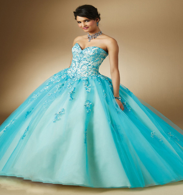 cf6f00ec889 Fashion Hot Style Dress For 15 Years Sweetheart Big Girls Ball Gowns Appliques  Puffy Quinceanera Dresses