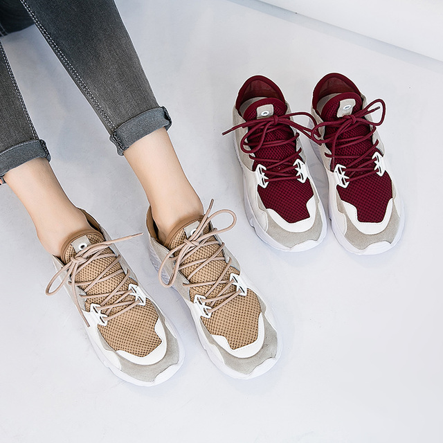 Frete Grátis Moda Feminina Round-toe Malha Sapatos Casuais Lacing Sapatos de Pele de Porco Malha Out-door Tamanho 35-39