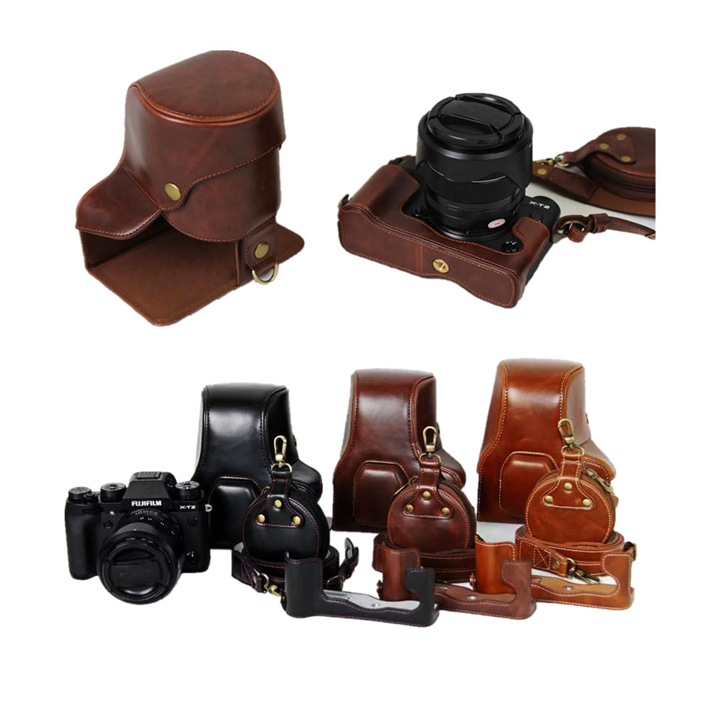 Bottom Open Luxury PU Leather Video Camera Case font b Bag b font Cover For Fujifilm