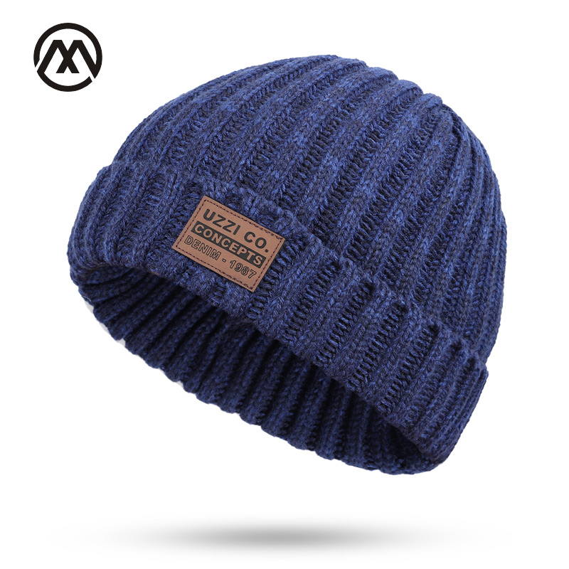 Brand winter knit men's cotton caps warm and comfortable man's hats solid leather standard thick ladies fashion ski   beanie   male
