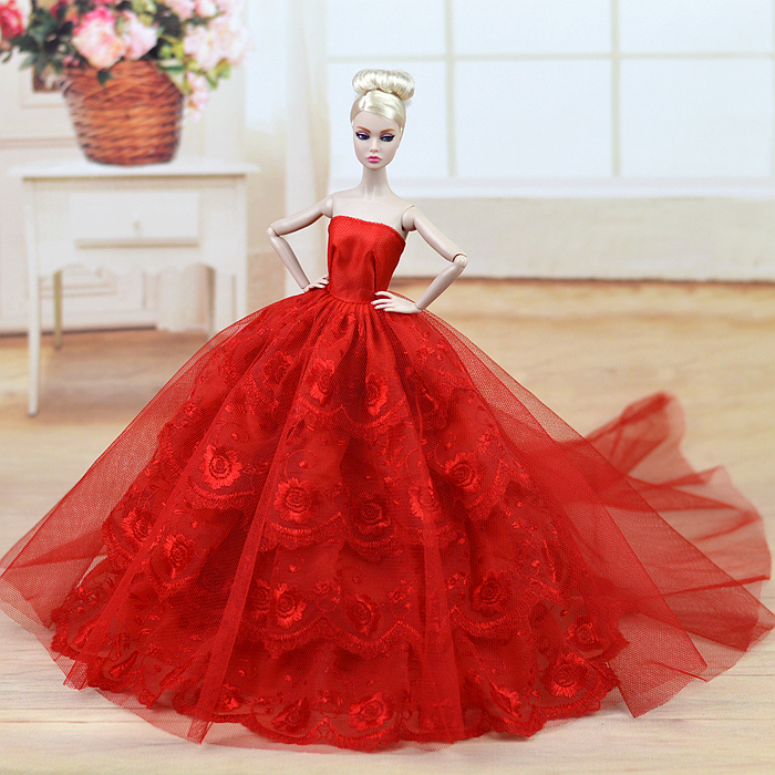 5 New styles for choose Gifts For Girls Wedding Dress Evening  Dress  long trail Clothes accessories For Barbie Doll BBI00400 autonomous design handmade gifts for girls doll accessories evening suit wedding dress clothes for barbie doll bbi00508