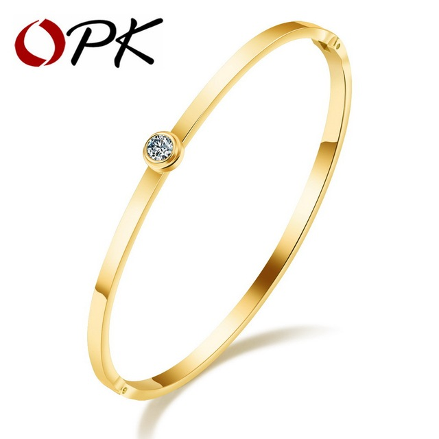 OPK Ultra Thin Design Womens Open Bangle Inlaid Cubic Zirconia Rose