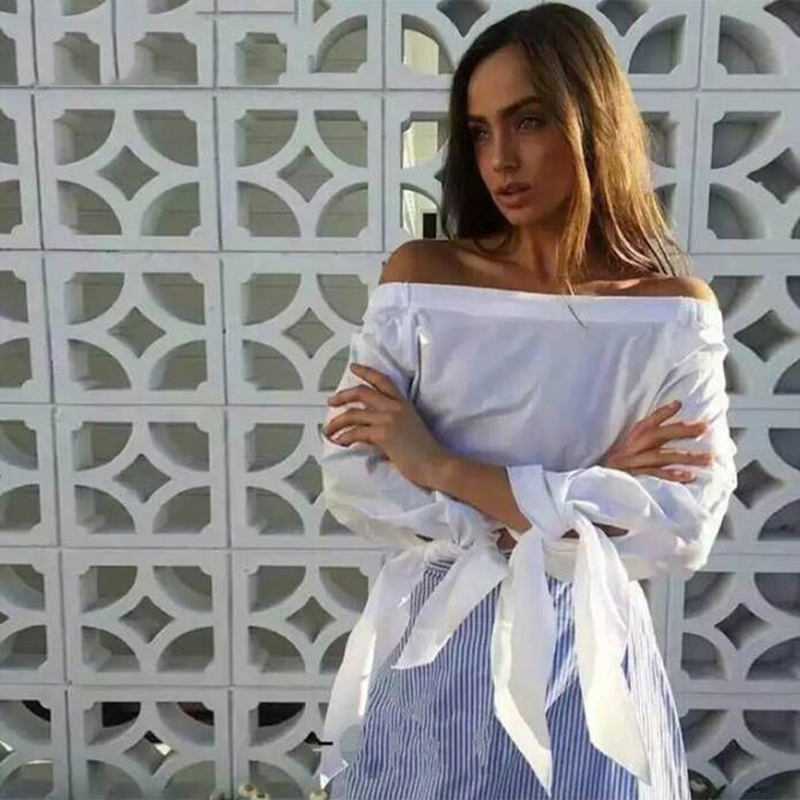 1c710f69f35af1 Women Blue Bow Tie Loose Blouse Plus Size Off Shoulder Tops Stripe Long  Shirts Fashion Casual Summer 2017 Free Shipping on Aliexpress.com