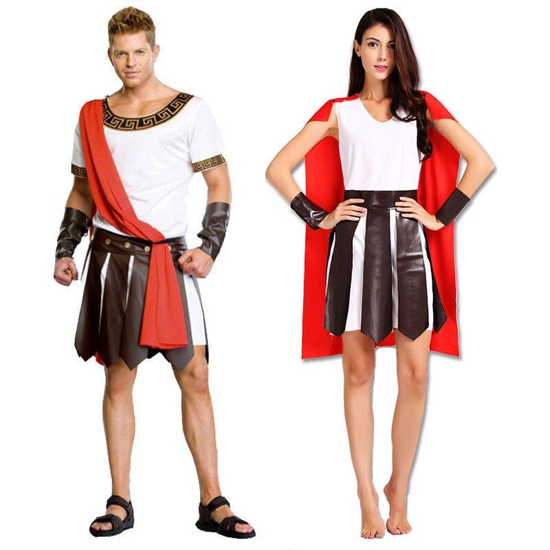 Umorden Halloween Adult Ancient Roman Greece Greek Warrior Soldier Gladiator Costume Great Caesar Costumes For Men Women Couple
