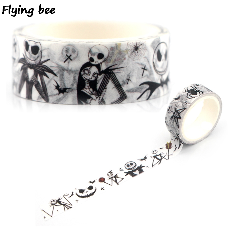 Flyingbee 15mmX5m Paper Washi Tape The Nightmare Before Christmas Adhesive Tape DIY Sticker Terror Masking Tape X0338